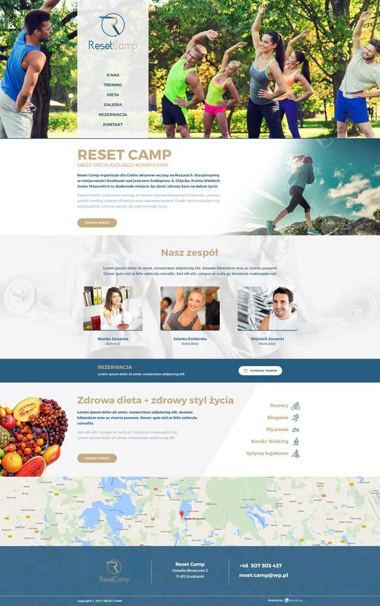 Widok strony głównej Reset Camp