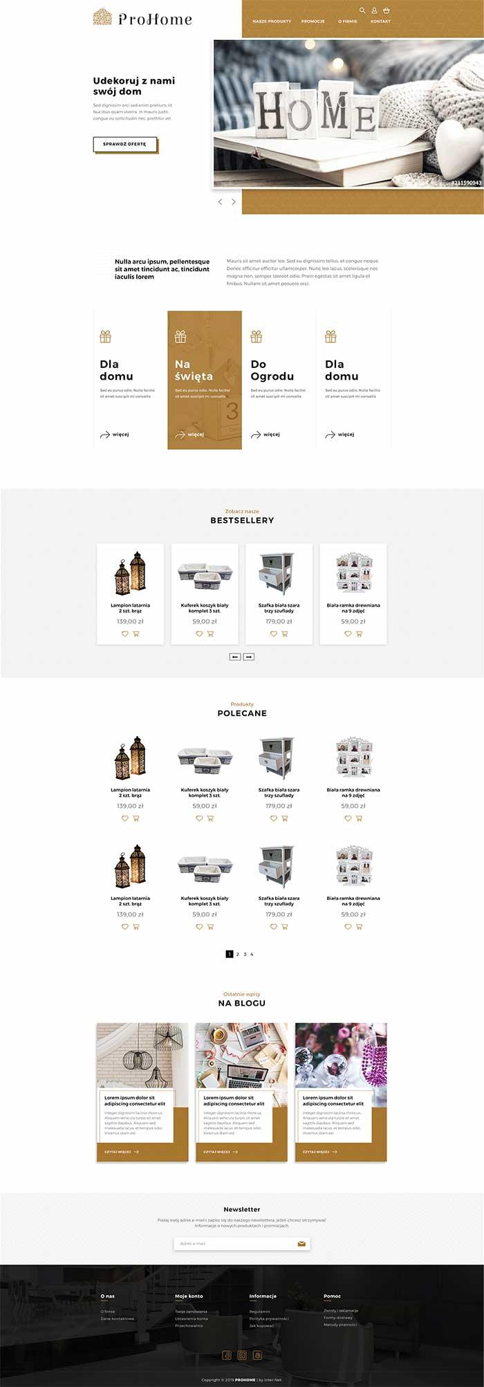 Strona główna sklepu internetowego Prohome